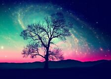 Amazing Space Tree Poster Print Size A4 / A3 Fantasy Nature Poster Gift #8218