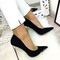Occident Womens Pointy Toe Slip On Stiletto Pumps Super High Heel Sexy OL Shoes