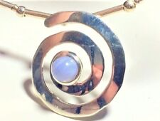 Blue Lace Agate Pendant, Pale Blue Necklace, Statement Necklace,Spiral Choker