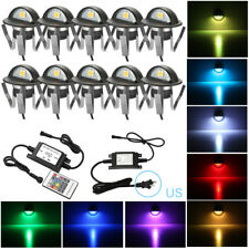 10x Rgb Led Deck Step Fence Lights Outdoor Yard Stair Path Lamp Kit Low Voltage