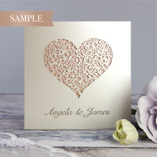 Heart Lace Laser Cut Handmade Luxury Wedding Day Invitations * SAMPLE ONLY*
