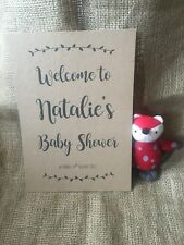 Personalised baby shower welcome sign A4 Kraft card