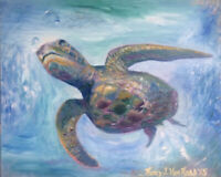 "Sea Turtle 8""x10"" Limited Edition Oil Painting Print Signed Art Artist"