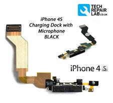 Repuesto Negro Base De Carga/Asamblea de puerto con Micrófono Para iPhone 4S 4GS
