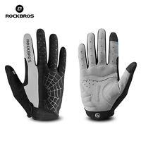 RockBros Cycling Gloves Long Full Finger Bike Touch Screen Anti-Skid Glove Grey
