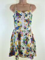MISS SELFRIDGE cream floral print skater mini dress size 8 euro 36