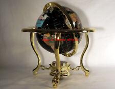 "13"" Black Ocean Gold 3- leg table stand Gem Gemstone World MAP globe (OPEN BOX)"