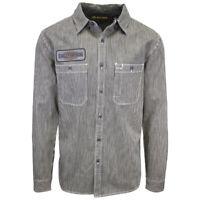 Harley-Davidson Men's Beige Black Striped Slim Fit L/S Woven Shirt (213)