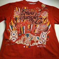 5ive Jungle Men Short Sleeve T Shirt Large L Orange Crew Logo Spellout Colorful