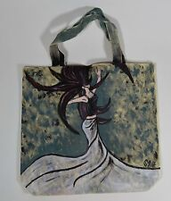 OOAK Hand Painted Signed Art Canvas Tote Bag, Faceless Woman Female Dancing
