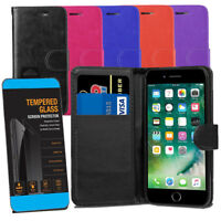 For iPhone SE 2nd Gen 2020 Leather Wallet Flip Case Cover + Tempered Glasses