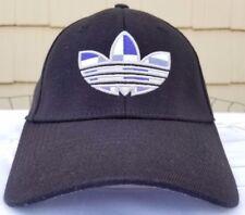 Adidas A-Flex cap sz S/M black/purple plaid logo stretch fit hat