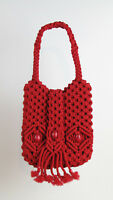 RED CROCHET HANDBAG - Women's Vintage Hand Bag One-Of-A-Kind! SUPER RARE!