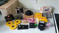 COLLECTION VINTAGE FILM CAMERA ACCESSORIES- INCL SPLICER S- FLASH GUNS ETC