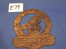 E74 VINTAGE CAST IRON FLOWER WREATH WITH BUTTERFLY FRONT DOOR WELCOME SIGN