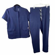 Figs Scrubs Pant & Top Set Womens M Navy Blue 2 Piece Shirt Bottom Pair 3 Pocket