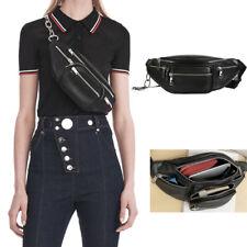Women Men Waist Fanny Pack Phone Key Coin Purse Chest Bag Chain PU Leather Bags