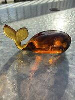 Vintage Pilgrim Hand Blown Amber Glass Whale Figurine / Paperweight