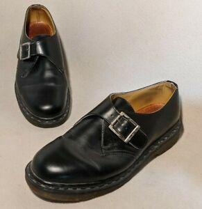 Dr Martens Black Leather Monk Strap Loafers Men's 9 UK 10 US Made in England