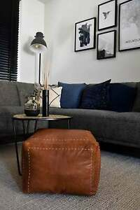 Square Leather Pouffe Moroccan Leather Pouffe Pouf Ottoman Leather Footstool