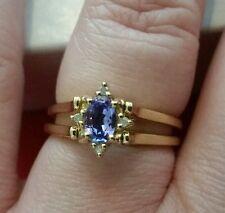 14K Yellow Gold Tanzanite & Blue Sapphire Reversible Ring w/Diamond Accents