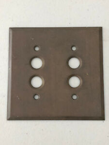 VINTAGE OLD ANTIQUE BRASS PLATE FOR DOUBLE PUSH BUTTON ELECTRIC WALL SWITCH