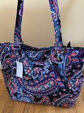 Vera Bradley Batik Leaves Floral Pleated Tote Shoulder Bag Purse
