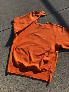 VTG 90s Champion Reverse Weave Neon Orange Sweatshirt Large Sweater
