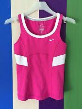 Nike Tennis tank top XS Pink White stretch singlet shirt gym run workout sport