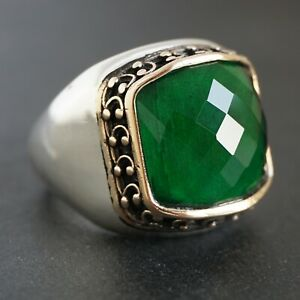 925 Sterling Silver Mens Ring Green Onyx faceted stone Elegant Jewelry size 10