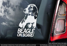 Beagle - Car Window Sticker - English Hound Dog Sign Print Hunting Gift - TYP1
