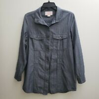 Filson Co. Womens Button Up Shirt Sz Small Solid Blue Long Sleeves Pockets Top