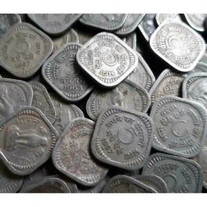 REPUBLIC INDIA - 5 PAISE - NICKLE & BRASS COINS - 50 PIECES LOT - 1957 TO 1965