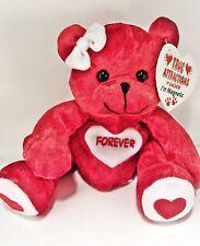 """FOREVER  Love Bear Red Beanbag Plush - Magnetic Hands  - 5"""" tall"""