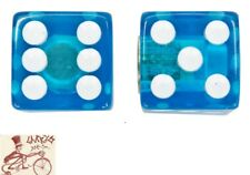 TRICK TOPS DICE  CLEAR BLUE CAR BIKE BICYCLE VALVE CAPS--1 PAIR