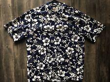 Hilo Hattie Casual Blue White Hawaiian Camp Shirt Floral Men's Size XL Button Up