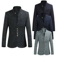 Men's Blazer Coat Winter Warm Overcoat Trench Outwear Long Sleeve Suit Jacket