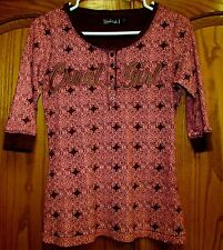 WOMEN'S CRUEL GIRL 5 BUTTON HENLEY COTTON KNIT TOP SZ SMALL BROWN & CORAL COLOR