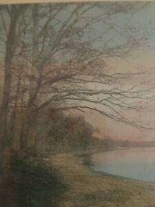 Wallace Nutting Hand Colored Lake Scene circa 1920's