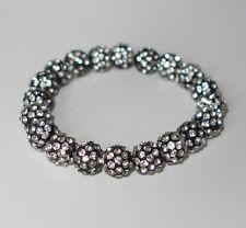A291 - Shamballa Armband - NEU - Schwarz Silberfarben Bunt Strass Steine Perlen