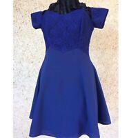 Stunning Vintage 1980s Evening Formal Blue Lace Mini Dress by Sunrise Australia