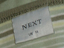 NEXT 100%CottonGreenStripedCasualKnitSize14Eur42