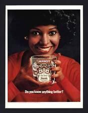 VINTAGE PRINT AD BLACK AMERICANA 1975 SMIRNOFF VODKA! AFRICAN AMERICAN WOMAN