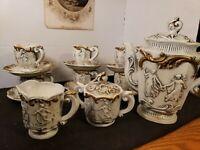 Antique Figural Relief ROYAL SEALY Demitasse Or Diminutive Tea Set, 17 pcs. VGC