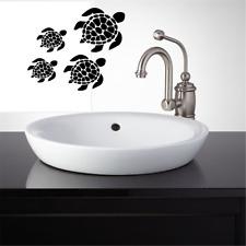 "Sea Turtle Family Sticker washroom vinyl Wall Decal Brush Flush 13"" x 16"""