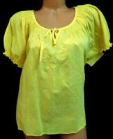 Kommotion ny yellow floral embroidered ruched trim women's short sleeve top 1X