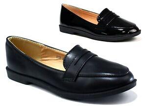 Ladies Girls Women New Comfy Slip On  Work Formal Black Shoe UK Size 3-8