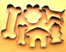 Dog Bone Paw Kennel Hydrant Baking Biscuit Fondant Cookie Cutter Metal Set