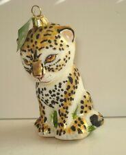 Slavic Treasures Collectible Glass Ornament Cheetah Cub With Original Box