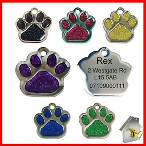 Personalised Dog Tags Engraved Pet Tags Glitter Paw Print Charm Cat ID Engraving